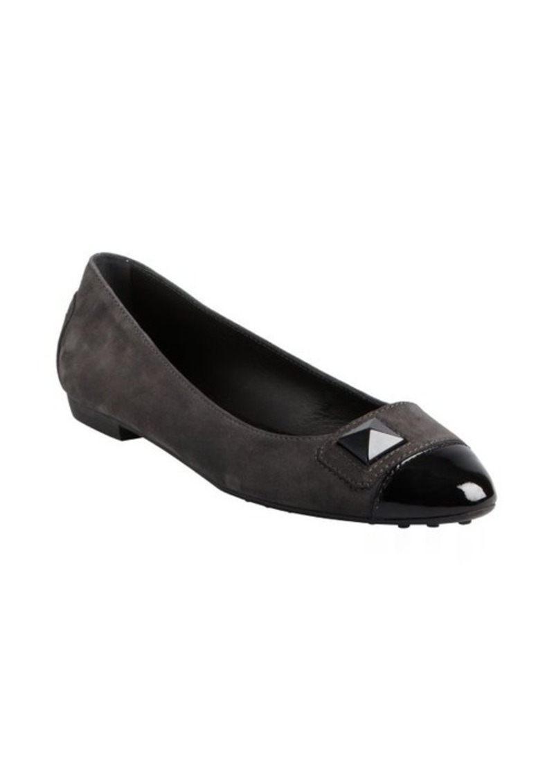 Tod's charcoal suede and black patent cap toe ballet flats