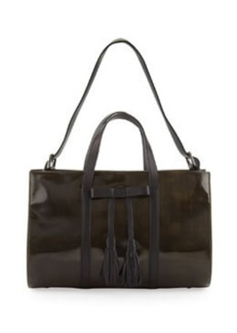 L.A.M.B. Adette Glazed Leather Satchel Bag, Black