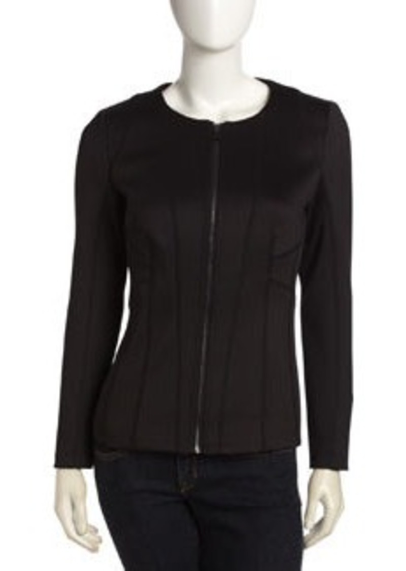 Laundry by Shelli Segal Seamed Zip Front Jacket, Black