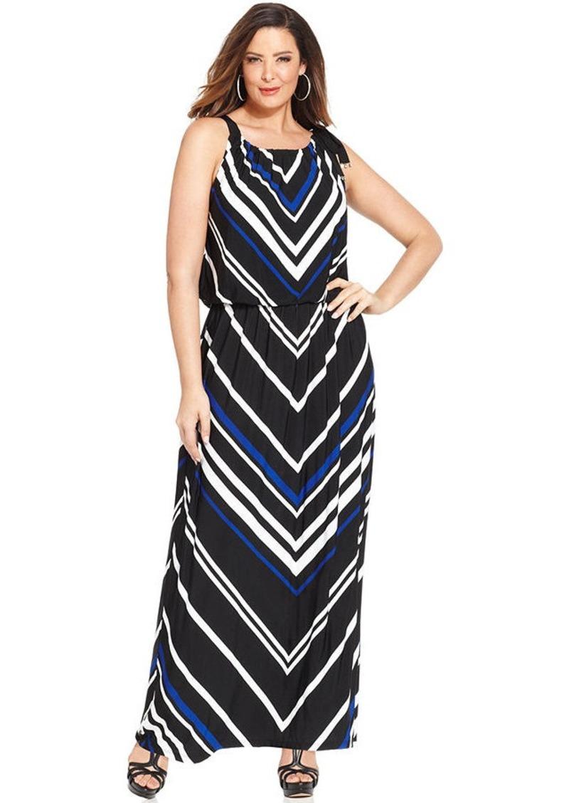 Alfani Plus Size Chevron-Print Blouson Maxi Dress