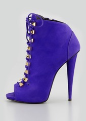 Giuseppe Zanotti Studded Suede Lace-Up Bootie