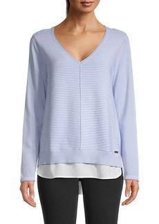 Calvin Klein 2Fer Striped Cotton Sweater