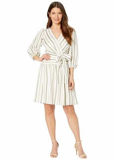 Calvin Klein 3/4 Sleeve Belted Striped Dress
