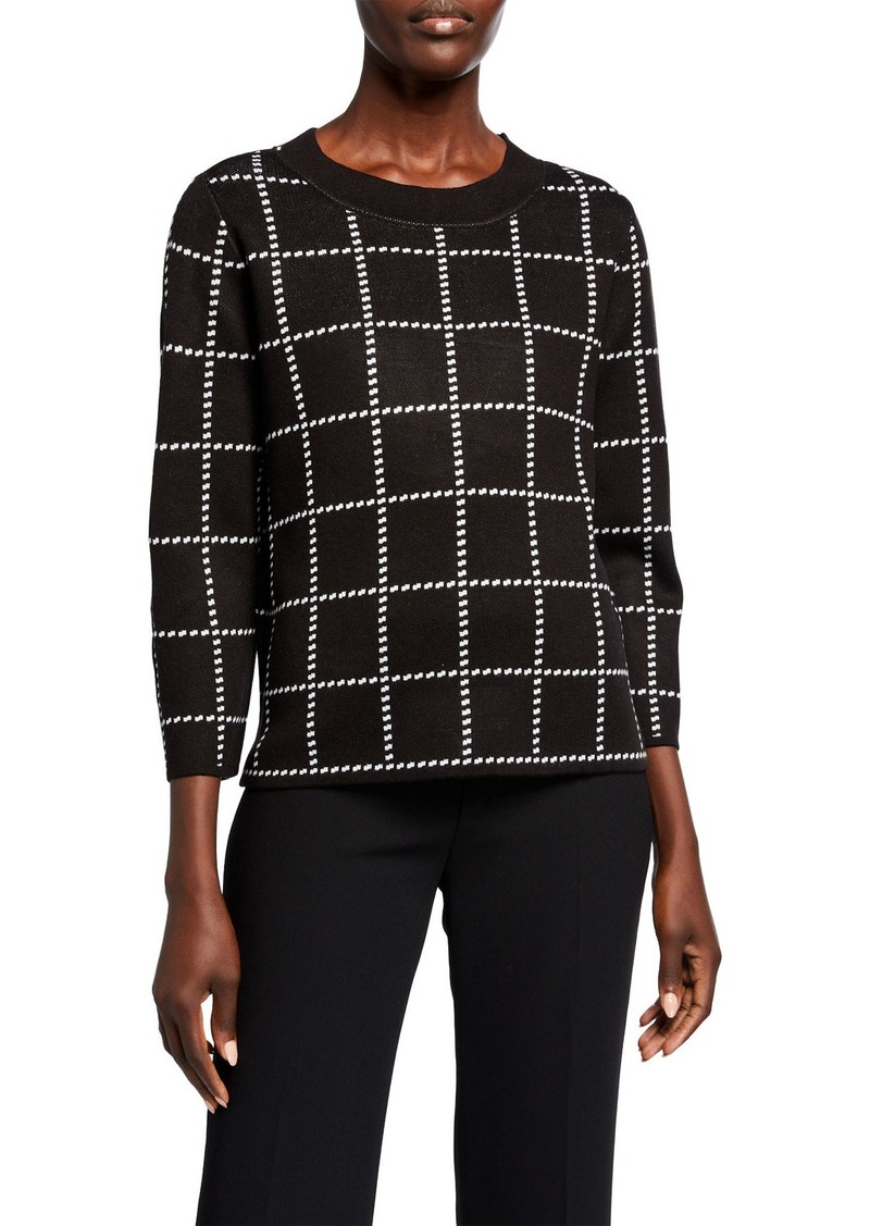 Calvin Klein 3/4-Sleeve Check Crewneck Sweater