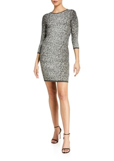 Calvin Klein 3/4-Sleeve Sheath Dress with Metallic