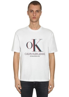 Calvin Klein 3d Logo Printed Cotton T-shirt
