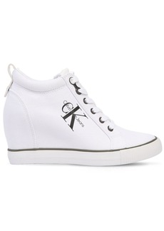 Calvin Klein 70mm Ritzy Cotton Canvas Wedge Sneakers