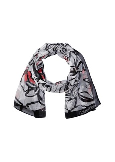 Abstract Floral Shadow Stripe Scarf