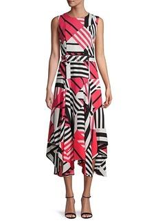 Calvin Klein Abstract-Print Asymmetrical Dress