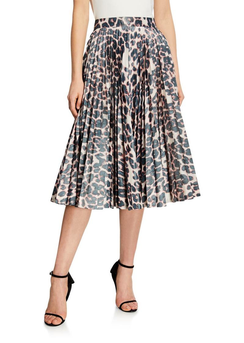 Calvin Klein Animal Print Pleated Circle Skirt