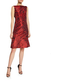 Calvin Klein Animal-Print Sleeveless V-Back Dress
