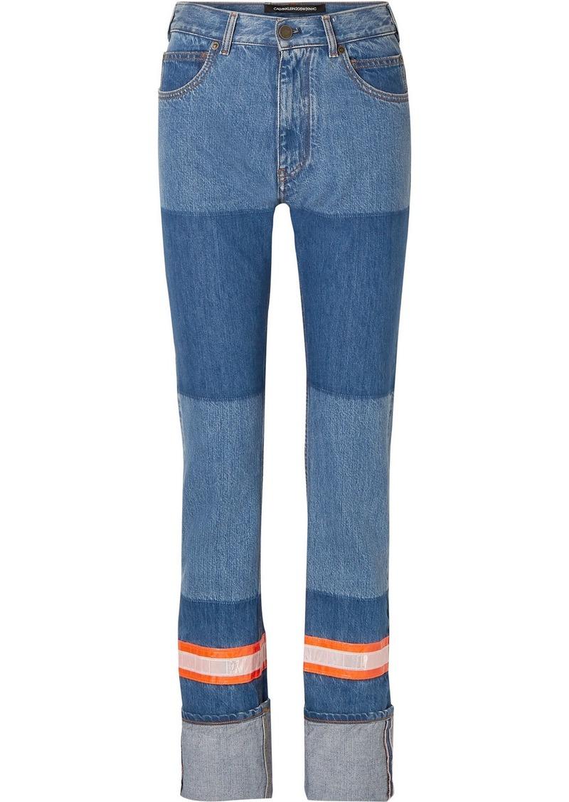 Calvin Klein Appliquéd Two-tone High-rise Straight-leg Jeans