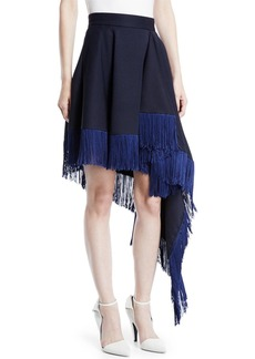 Calvin Klein Asymmetric Flag-Side Fringe Back-Zip Skirt