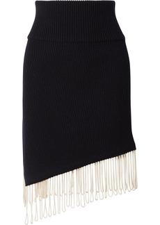 Calvin Klein Asymmetric Fringed Ribbed-knit Skirt