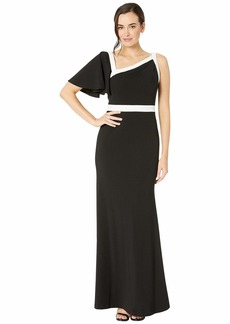 Calvin Klein Asymmetric Neck Gown w/ Piping Detail