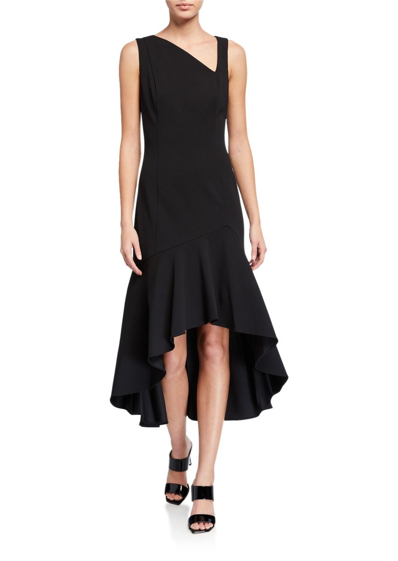 Calvin Klein Asymmetric-Neck High-Low Midi Dress