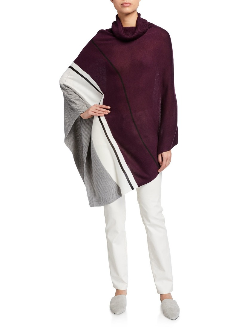 Calvin Klein Asymmetric Poncho Sweater with Colorblock