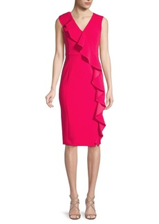 Calvin Klein Asymmetrical Ruffle Sheath Dress