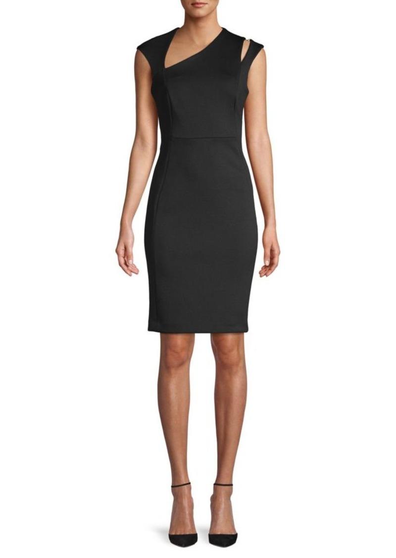 Calvin Klein Asymmetrical V-Neck Sheath Dress