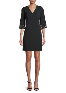 Calvin Klein Beaded-Cuff Sheath Dress