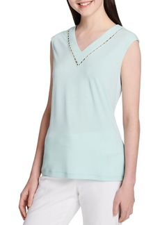 Calvin Klein Beaded Cutout V-Neck Blouse