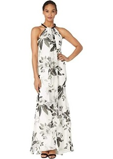 Calvin Klein Beaded Neck Floral Gown