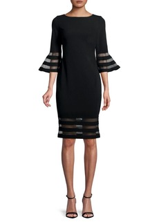 Calvin Klein Bell-Sleeve Striped Mesh Dress