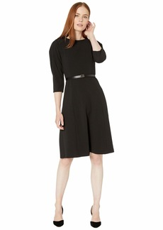 Calvin Klein Belted A-Line Dress with CK Logo Dress