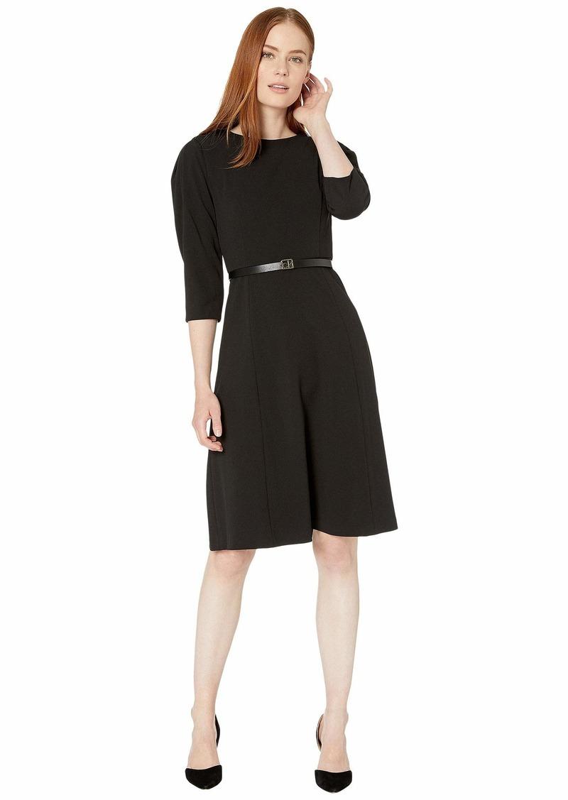 Calvin Klein Belted A-Line Dress with CK Logo Dress