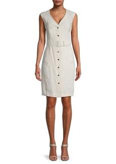 Calvin Klein Belted Button-Up Sheath Dress
