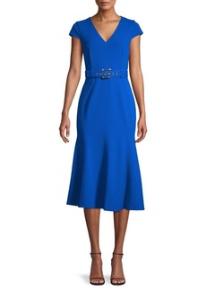 Calvin Klein Belted Cap-Sleeve Flare Dress