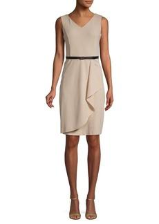Calvin Klein Belted Drape Sheath Dress