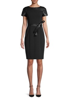 Calvin Klein Belted Faux Leather-Trim Sheath Dress
