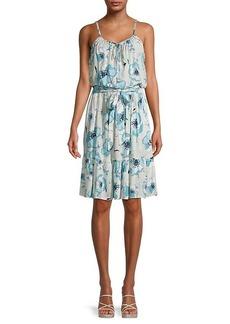 Calvin Klein Belted Floral Dress