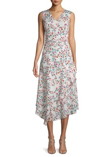 Calvin Klein Belted Floral Ruffle Dress
