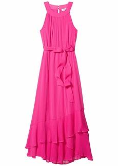 Calvin Klein Belted Halter Neck Chiffon Dress with Ruffle Hem