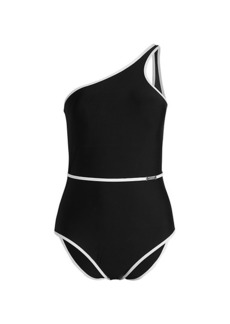 Calvin Klein Belted One-Shoulder One-Piece Swimsuit