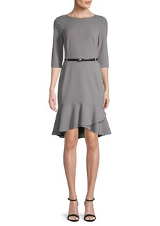 Calvin Klein Belted Ruffle-Hem Dress