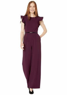 Calvin Klein Belted Ruffle Sleeve Jumpsuit
