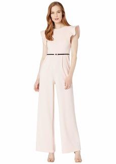 Calvin Klein Belted Ruffle Sleeve Jumpsuit