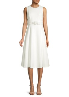 Calvin Klein Belted Sleeveless A-Line Dress