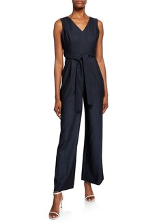 Calvin Klein Belted V-Neck Denim Jumpsuit