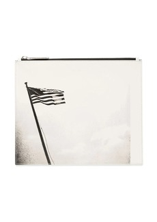 Calvin Klein black and white american flag print leather pouch