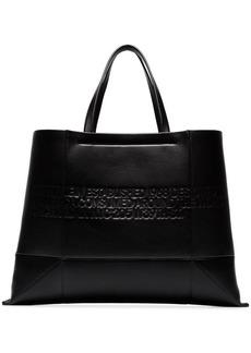 Calvin Klein black geometric embossed leather tote
