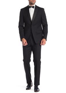 Calvin Klein Black Medallion Two Button Notch Lapel Wool Slim Fit Suit