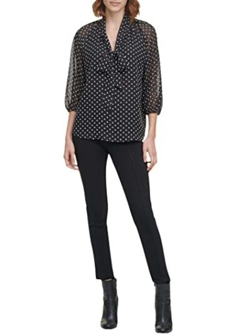 Calvin Klein Blouse with 3/4 Sleeve and Tie At Neck