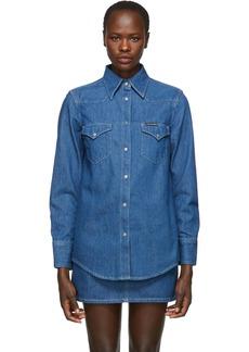Calvin Klein Blue Denim Western Shirt