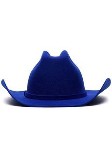 Calvin Klein blue logo embroidered rabbit fur cowboy hat