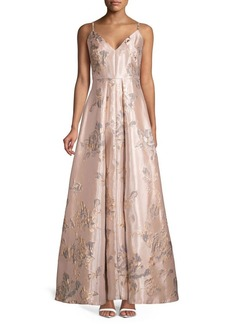 Calvin Klein Brocade Pleated Gown