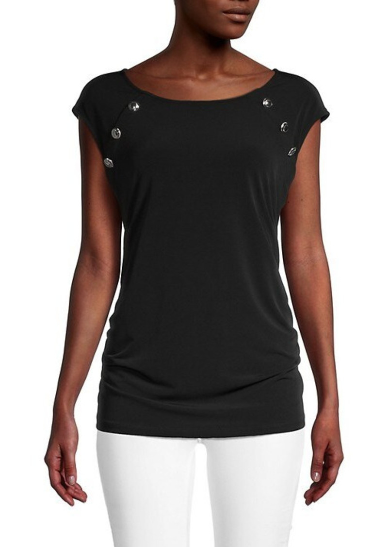 Calvin Klein Button Cap-Sleeve Top